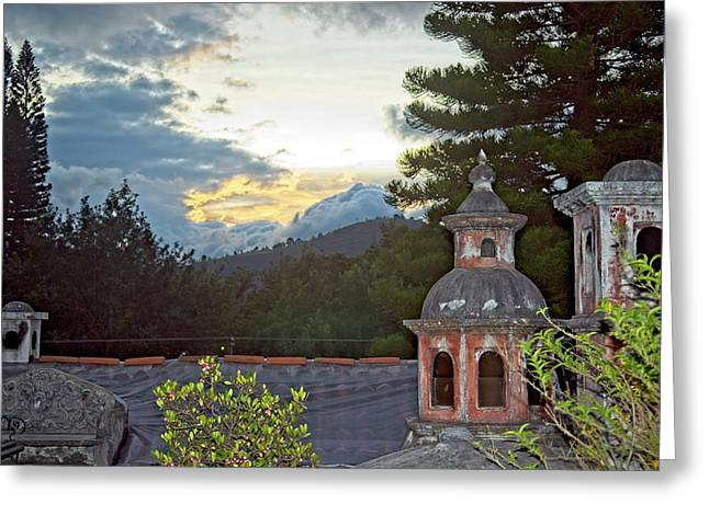 Sunset Over The Rooftop In Guatemala Greeting Card