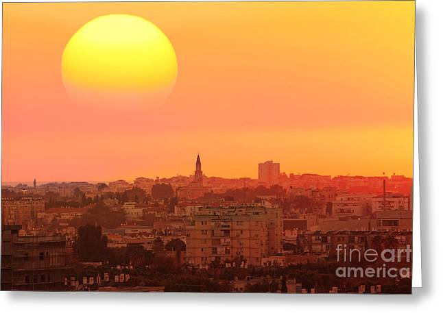 Sunset Over The Town.old City Of Tel Greeting Card