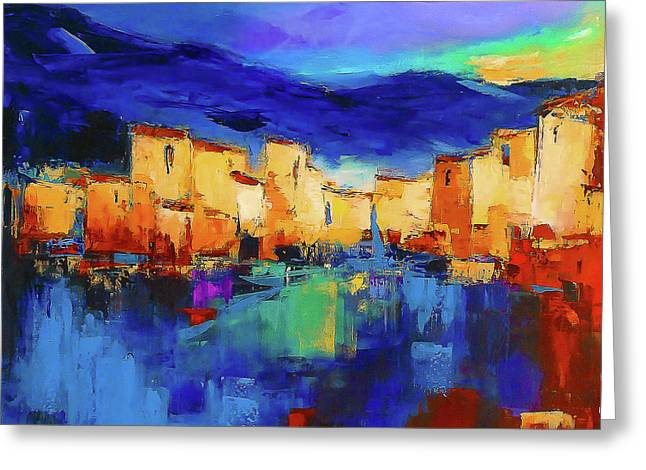 Sunset Over The Village Greeting Card