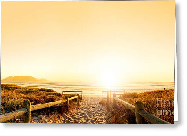 Sunset Panorama Hdr Of A Beach Near Greeting Card