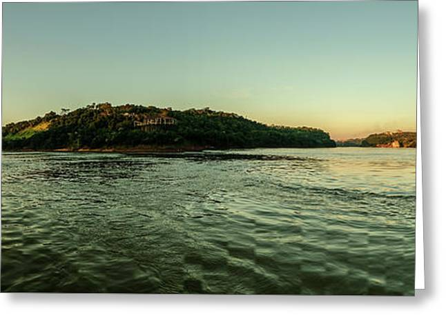 Sunset River Confluence Greeting Card