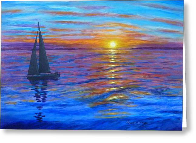 Greeting Card featuring the painting Sunset Sail by Amelie Simmons