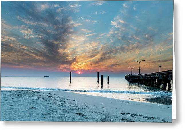 Sunset Seascape And Beautiful Clouds Greeting Card