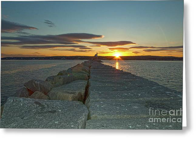 Sunset Seawall Greeting Card
