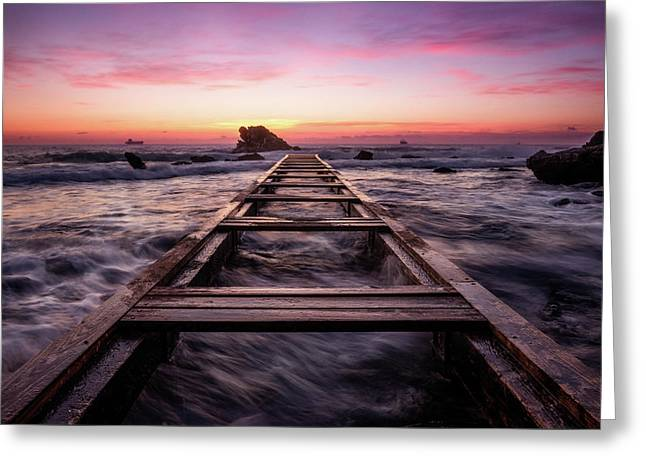 Sunset Shining Over A Wooden Pier In Livorno, Tuscany Greeting Card