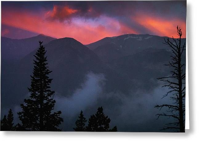 Sunset Storms Over The Rockies Greeting Card