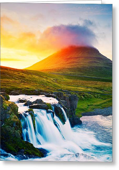 Sunset Waterfall. Amazing Nature Greeting Card