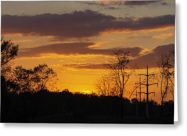 Sunset With Electricity Pylon Greeting Card