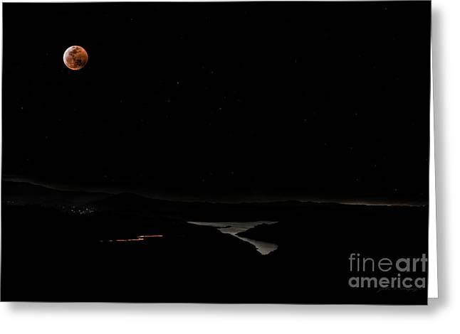 Super Blood Wolf Moon Eclipse Over Lake Casitas At Ventura County, California Greeting Card