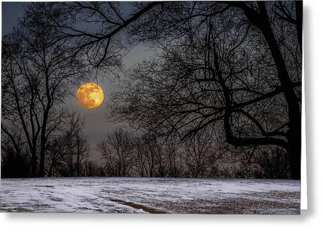 Super Blue Moon Rising 3 Greeting Card