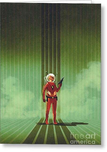 Super Hero In Red Suit Holding Gun Over Greeting Card