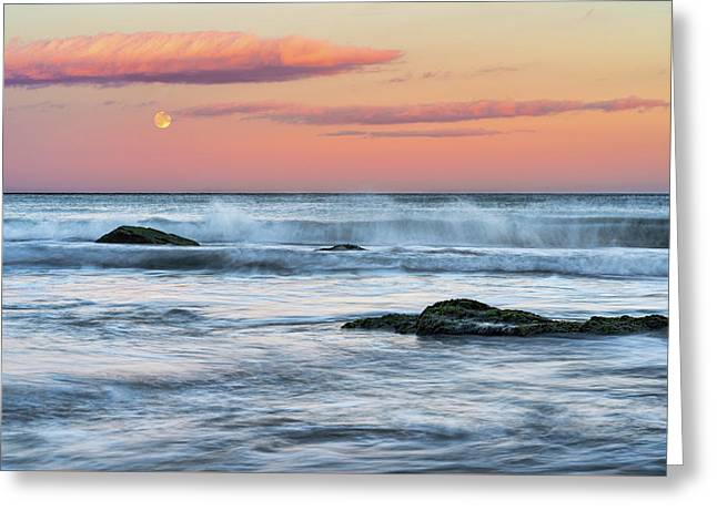 Greeting Card featuring the photograph Super Moon And Sunset At Sozopol Town Beach by Milan Ljubisavljevic