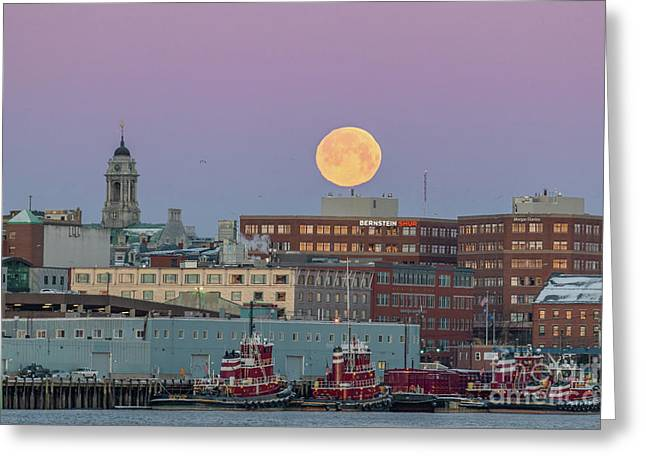Super Snow Moon Over Portland Greeting Card