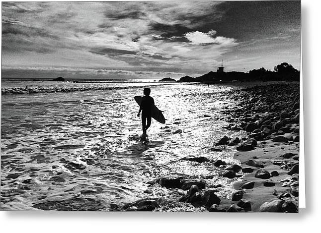 Greeting Card featuring the photograph Surfer Silhouette by John Rodrigues