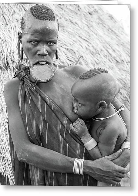 Mursi Mother And Child Greeting Card