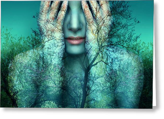 Surreal And Artistic Image Of A Girl Greeting Card