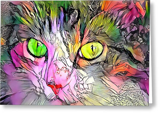 Surreal Cat Wild Eyes Greeting Card