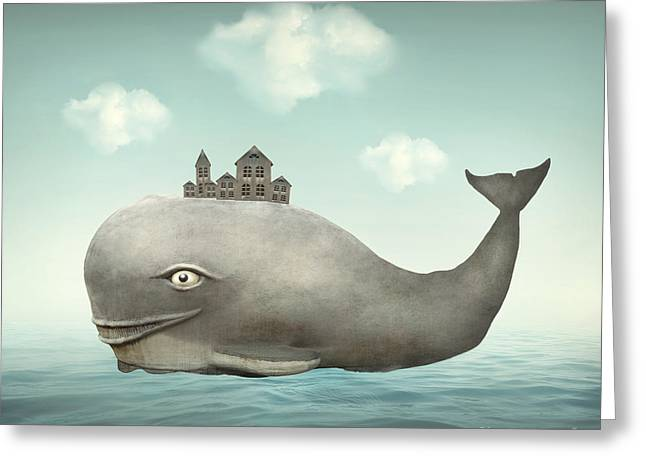 Surreal Illustration Of A Whale In The Greeting Card