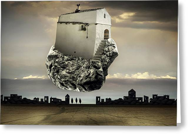 Surreal Landscape With A Flying House Greeting Card