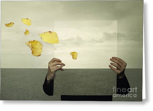 Surreal Landscape With A Person Who Greeting Card