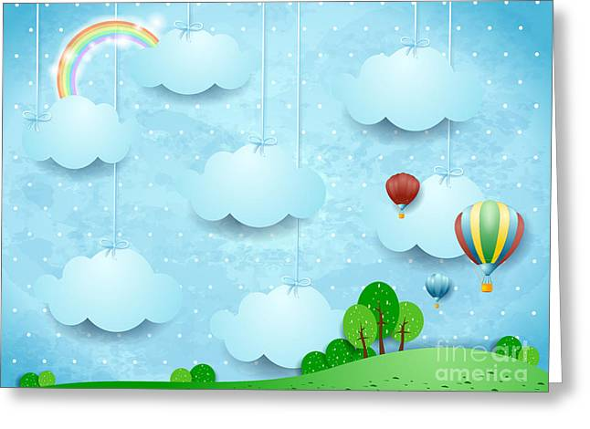 Surreal Landscape With Hanging Clouds Greeting Card