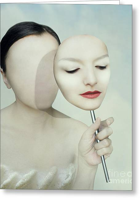 Surreal Portrait Of A Woman Faceless Greeting Card