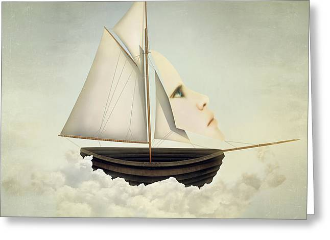 Surreal Vessel Above The Clouds With Greeting Card