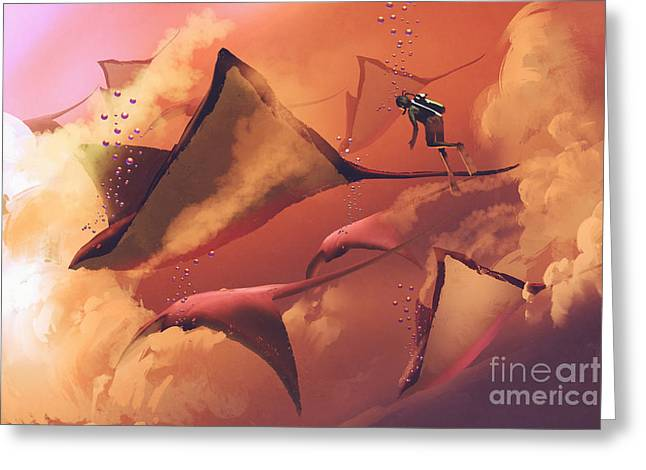 Surreal World Concept Showing Diver And Greeting Card