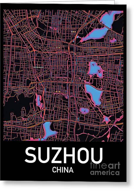 Suzhou City Map Greeting Card