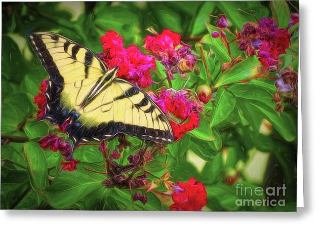 Swallowtail Among Flowers Greeting Card