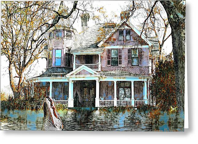 Greeting Card featuring the digital art Swamp House by Pennie McCracken