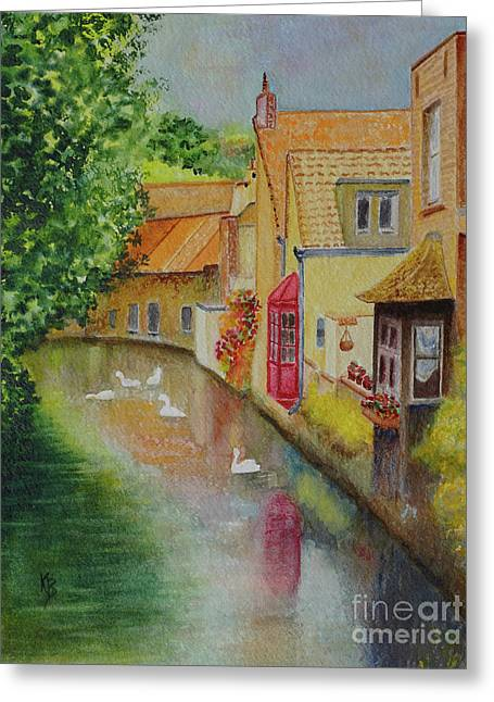 Greeting Card featuring the painting Swan Canal by Karen Fleschler