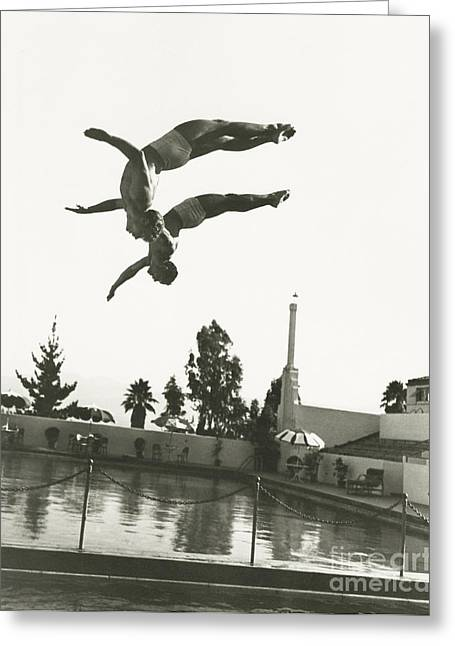 Synchronized Divers In Mid-air Greeting Card