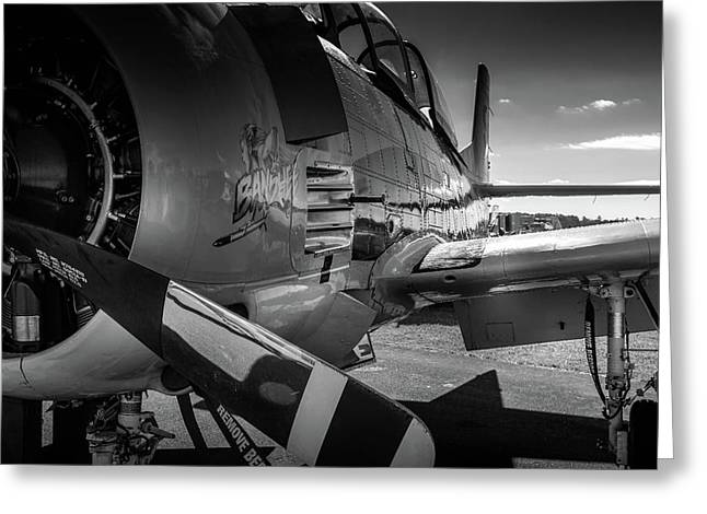 T-28b Trojan In Bw Greeting Card