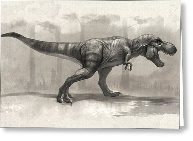 T-rex Drawing Greeting Card by Steve Goad