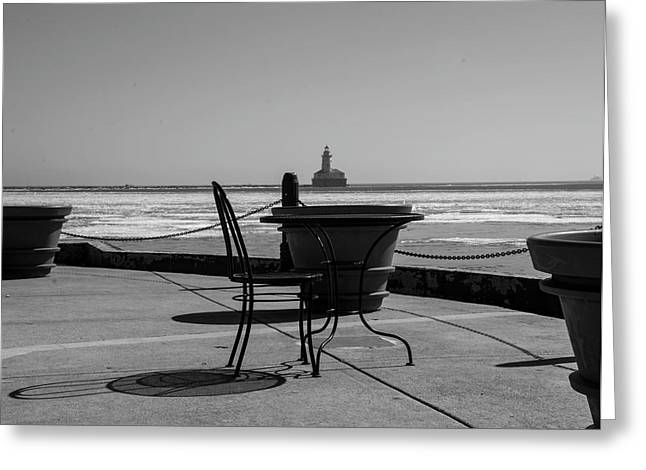 Table For One Bw Greeting Card