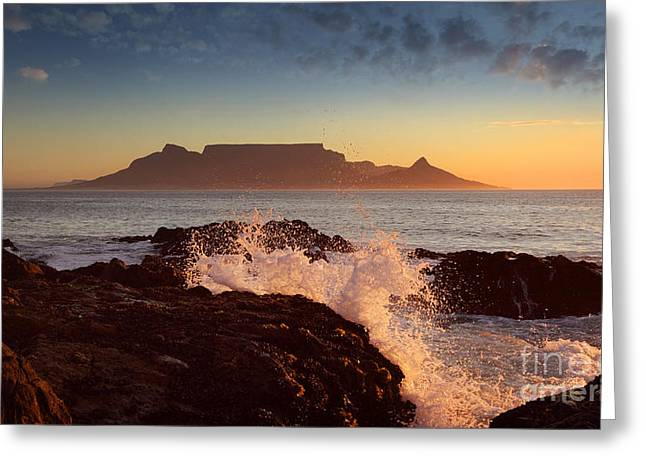 Table Mountain With Clouds, Cape Town Greeting Card by Dietmar Temps