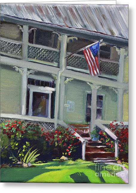 Greeting Card featuring the painting Tabor House - Historical Home Of Ellijay by Jan Dappen