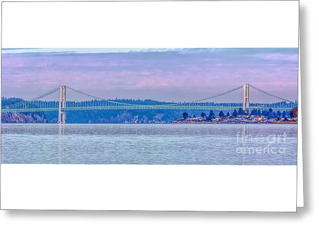 Tacoma Narrows Bridge Landscape Greeting Card by Jean OKeeffe Macro Abundance Art