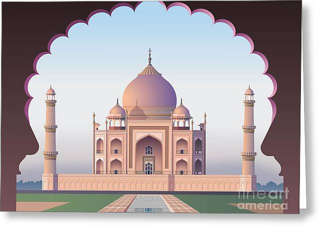 Taj Mahal Through The Window Greeting Card