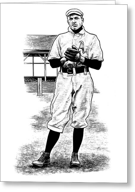Greeting Card featuring the drawing Take Me Out To The Ballgame by Clint Hansen