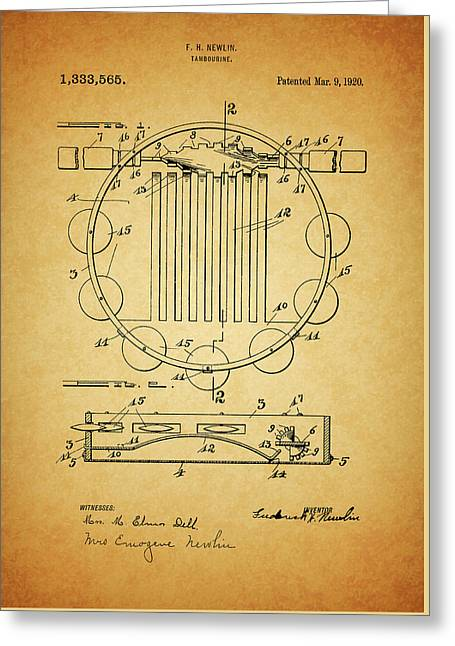 Tambourine Patent Greeting Card