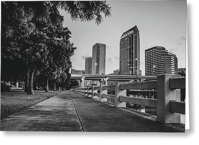 Tampa Florida Riverwalk View In Monochrome Greeting Card by Gregory Ballos