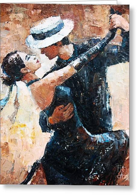 Tango Dancers Digital Painting, Tango Greeting Card