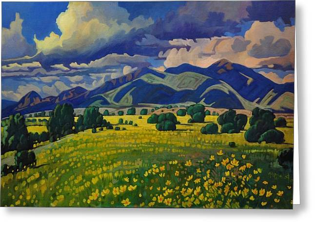 Taos Yellow Flowers Greeting Card