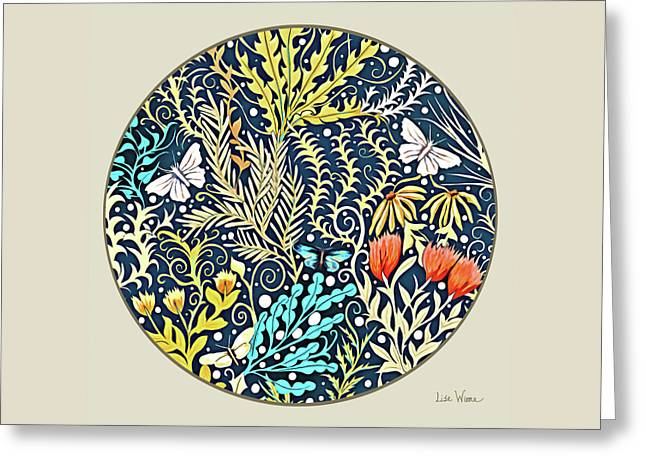 Tapestry Design Button Greeting Card