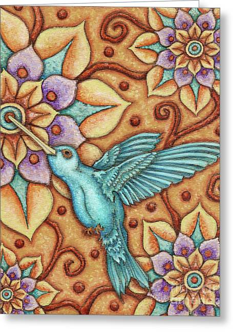 Tapestry Hummingbird Greeting Card