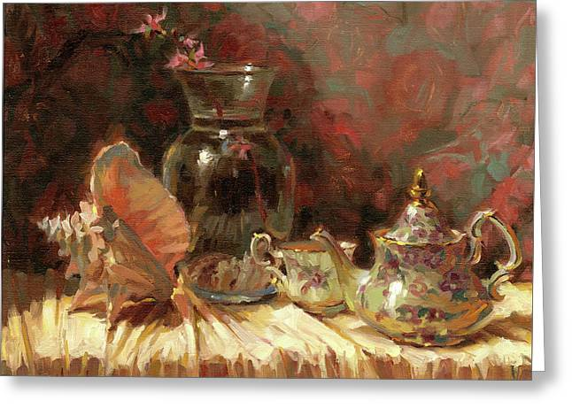 Greeting Card featuring the painting Tea By The Sea by Steve Henderson