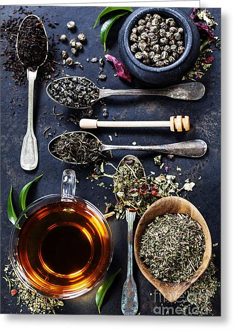 Tea Composition With Different Kind Of Greeting Card