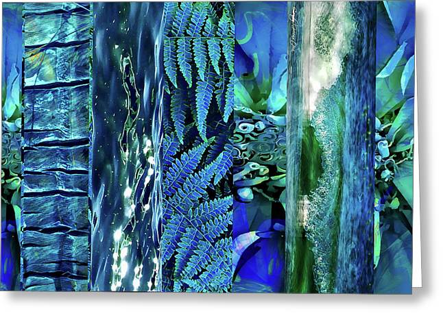 Greeting Card featuring the digital art Teal Abstract by Cindy Greenstein